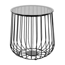 ETNA Konferenční stolek kulatý s kovovým rámem - černá