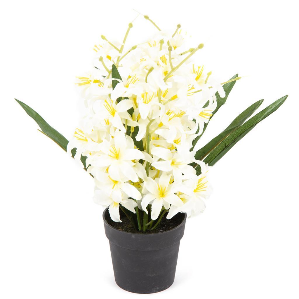 Produktové foto Umělá květina Lilie drobnokvětá v květináči bílá, 30 cm