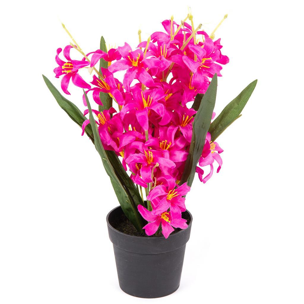 Produktové foto Umělá květina Lilie drobnokvětá v květináči růžová, 30 cm