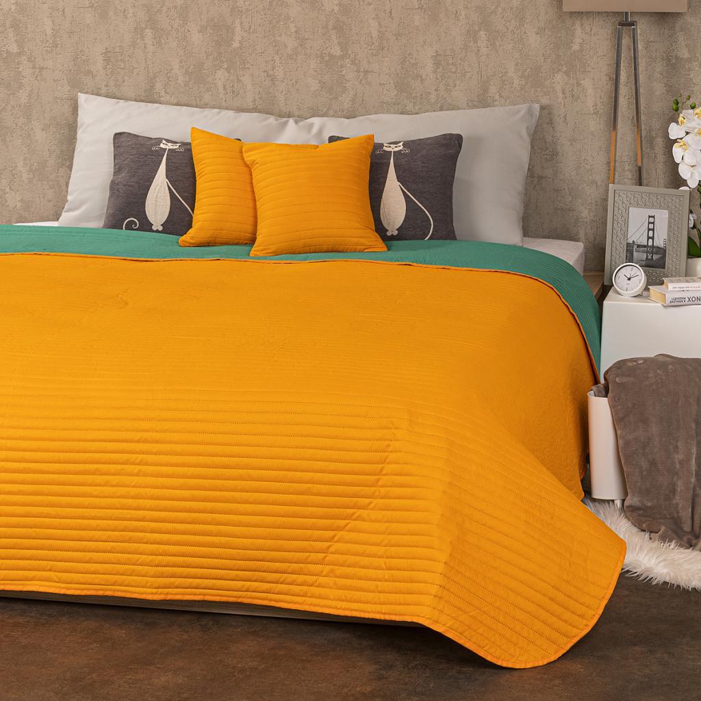Produktové foto 4Home Přehoz na postel Doubleface oranžová/zelená