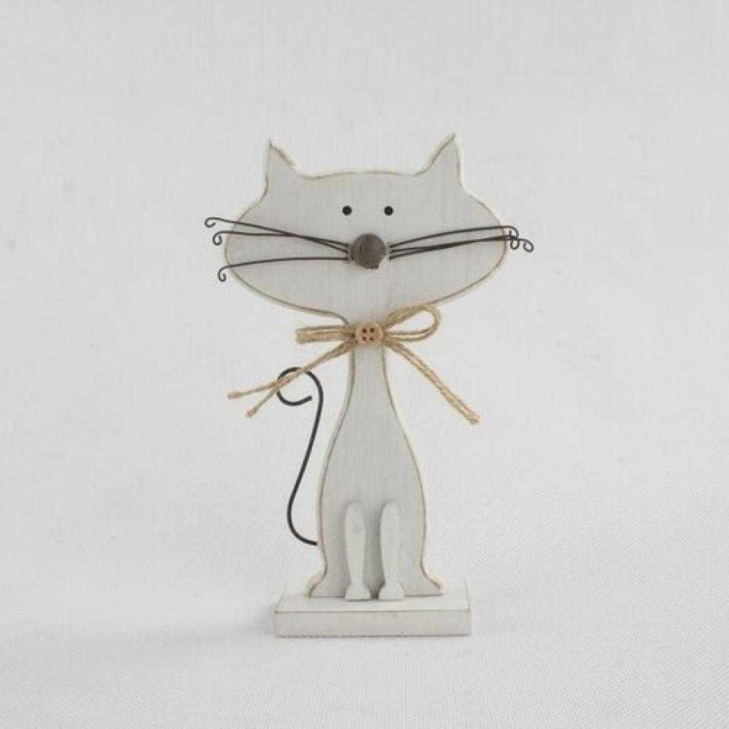Produktové foto Dekorativní dřevěná kočka bílá, 25 cm