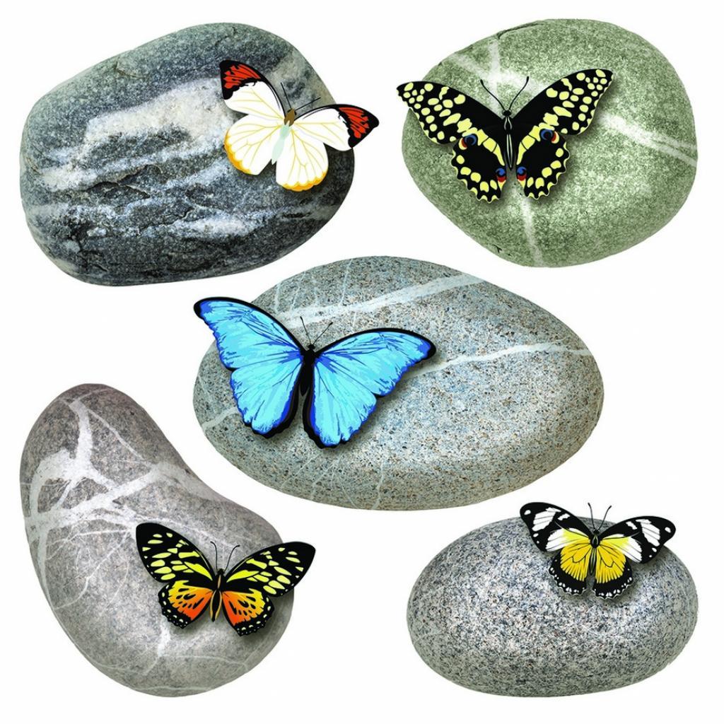 Produktové foto Samolepicí dekorace Butterflies on Stones, 30 x 30 cm