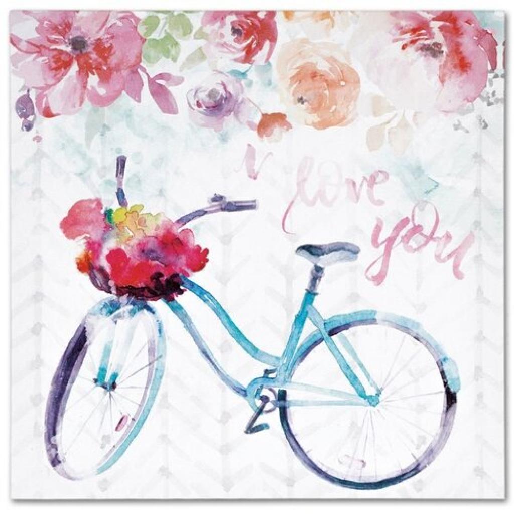 Produktové foto Obraz na plátně Floral bicycle, 28 x 28 cm