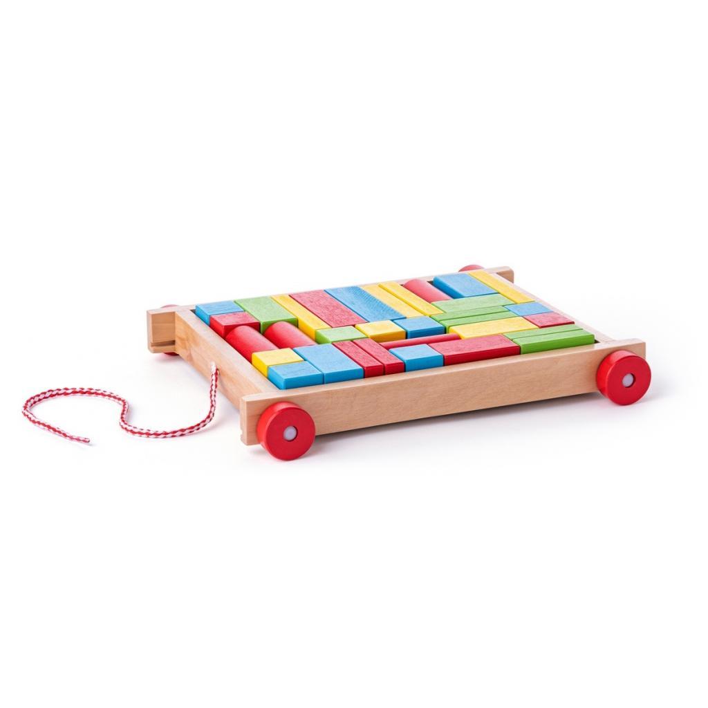Produktové foto Woody Vozík s kostkami malý - 34 dílů