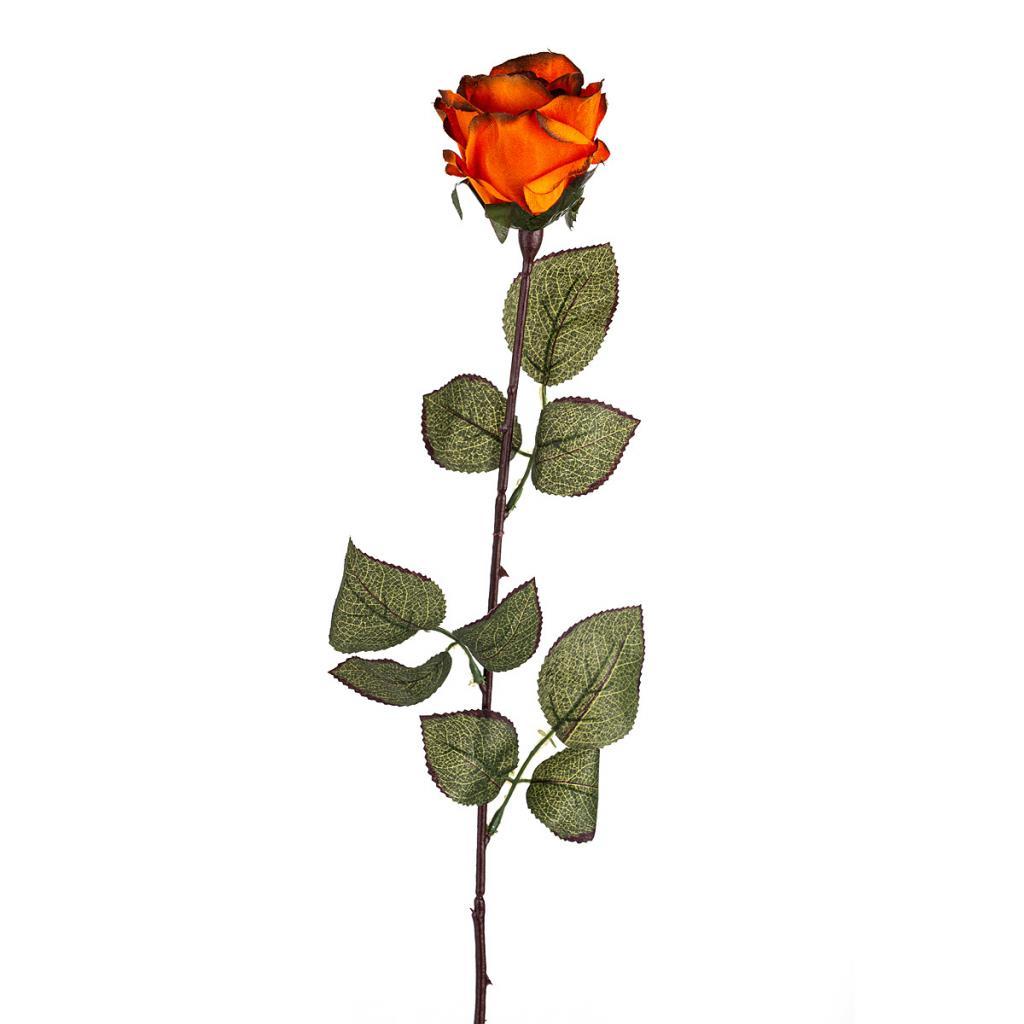 Produktové foto Umělá květina Růže velkokvětá 72 cm, tm. oranžová