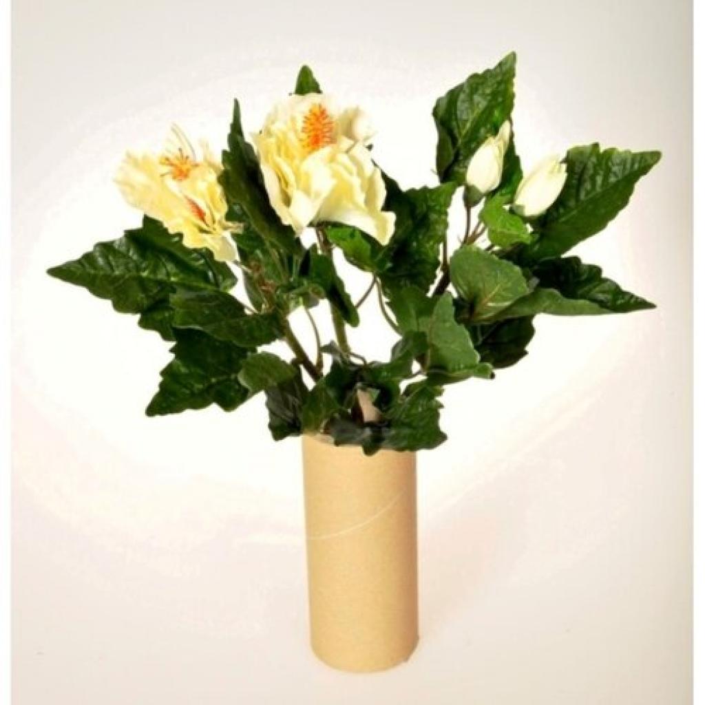 Produktové foto Umělá květina Ibišek svazek bílá, 35 cm