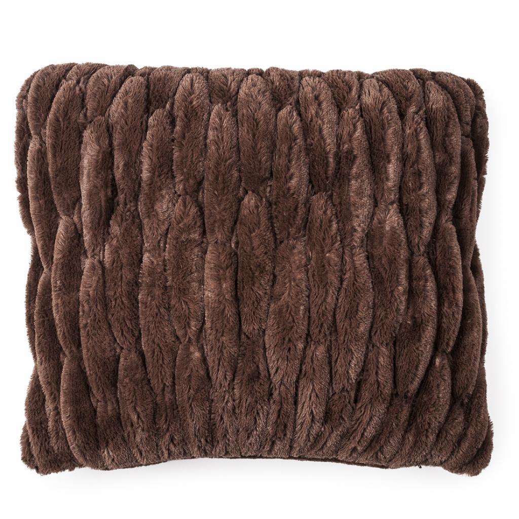 Produktové foto BO-MA Trading Povlak na polštářek chlupatý prošívaný hnědá 45 x 45 cm