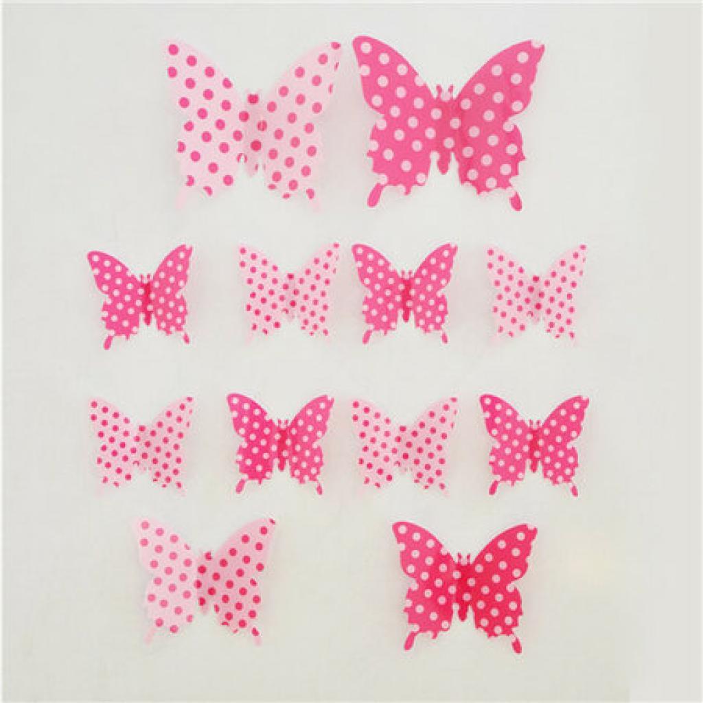 Produktové foto Samolepicí 3D motýlci růžový puntík, 12 ks