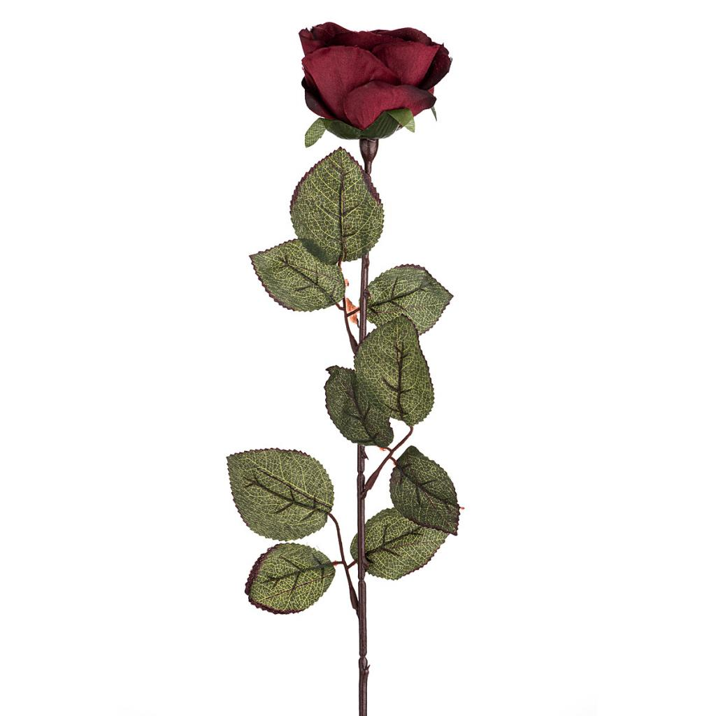 Produktové foto Umělá květina Růže velkokvětá 72 cm, vínová