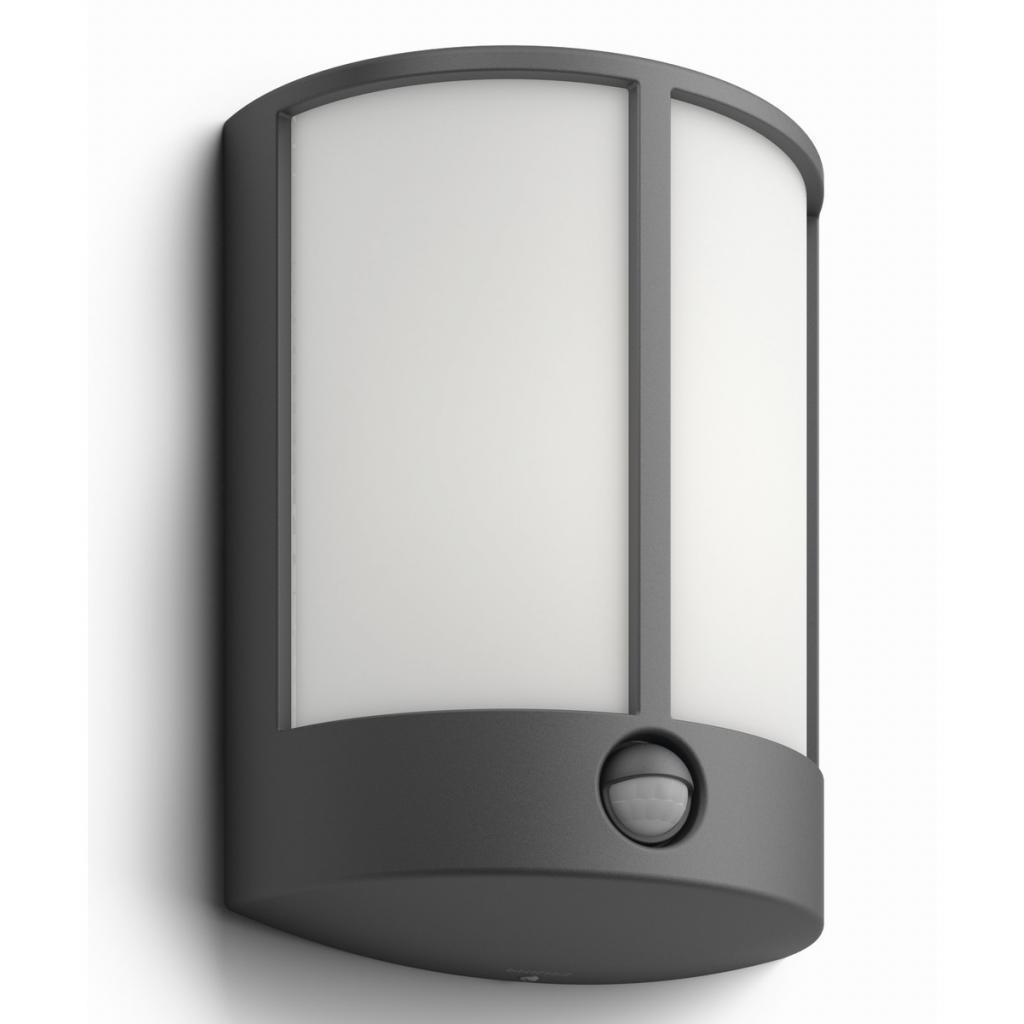Produktové foto Philips 16465/93/16 Stock Venkovní nástěnné LED svítidlo s čidlem 24,5 cm, antracit