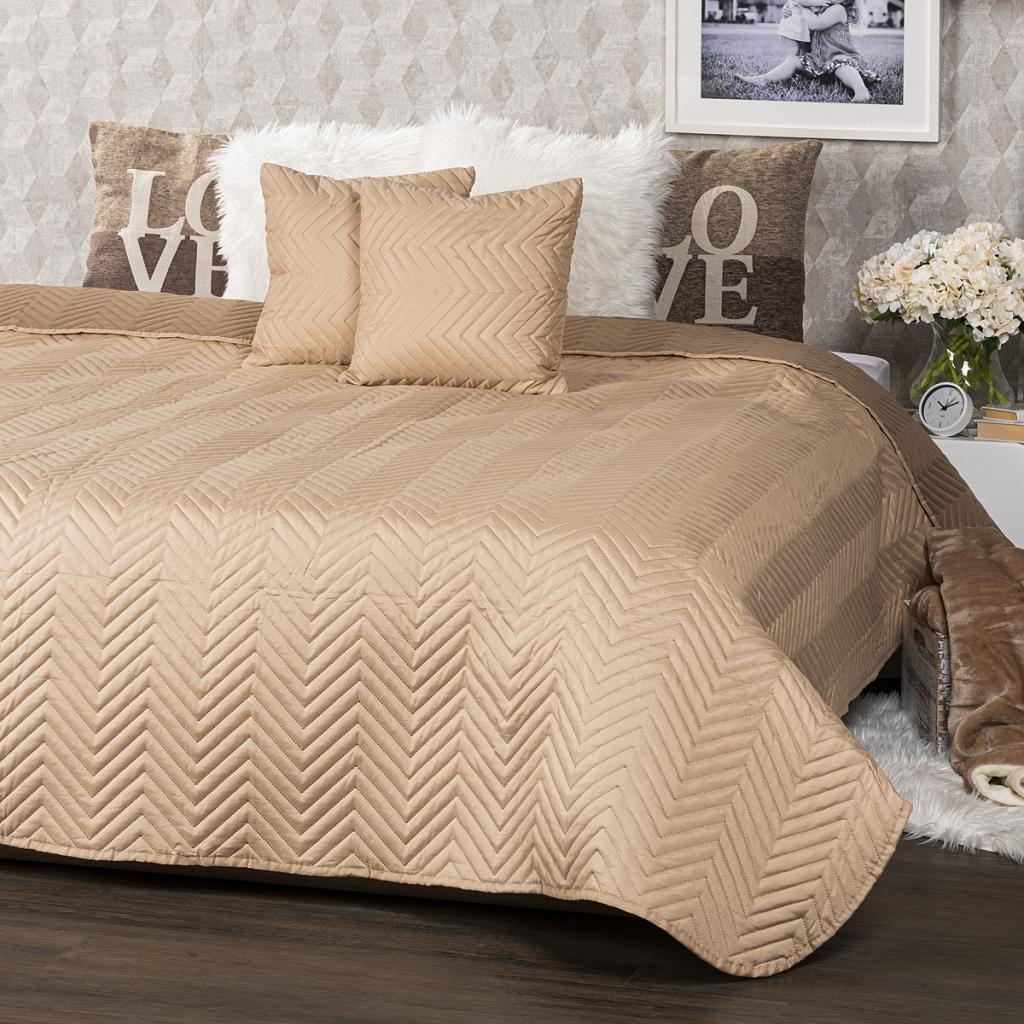 Produktové foto 4Home Přehoz na postel Doubleface světle hnědá/hnědá, 220 x 240 cm, 2 ks 40 x 40 cm
