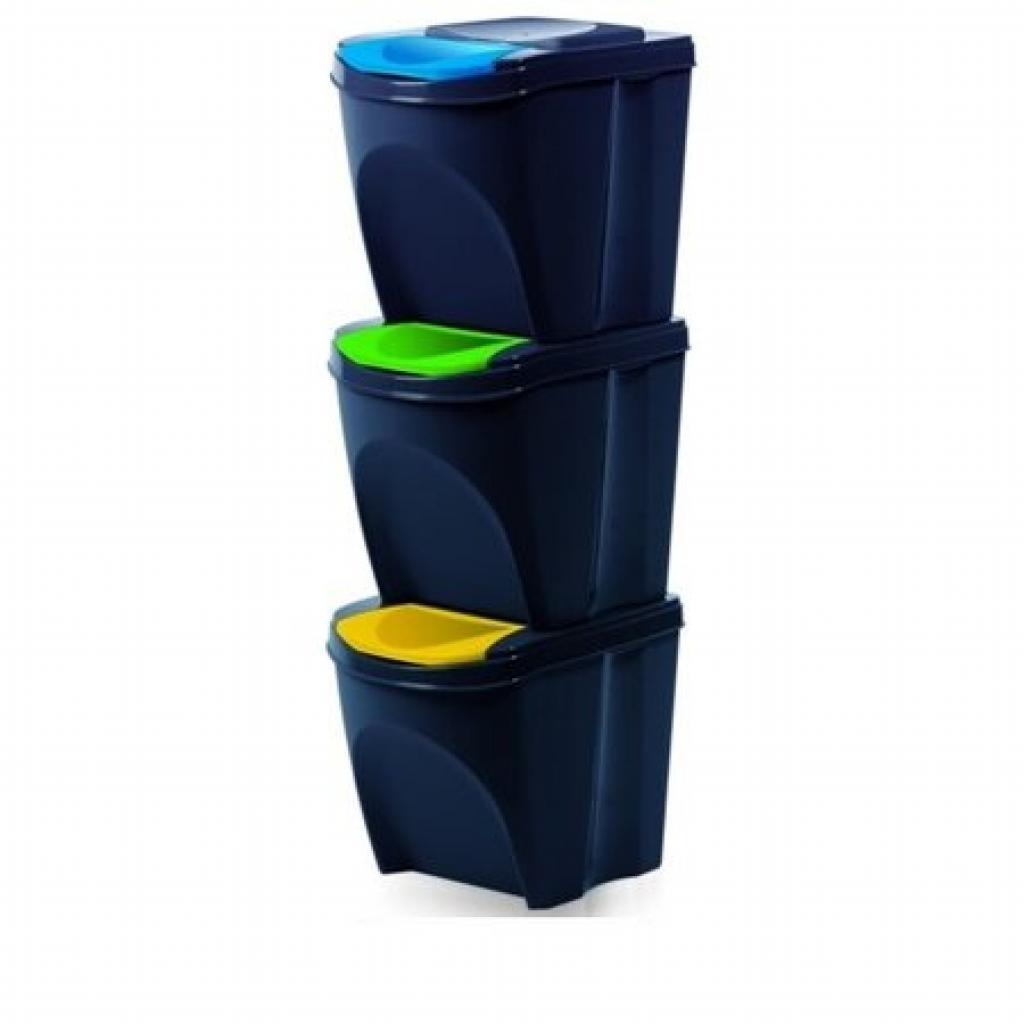Produktové foto Koš na tříděný odpad Sortibox 25 l, 3 ks, antracit IKWB20S3 – S433