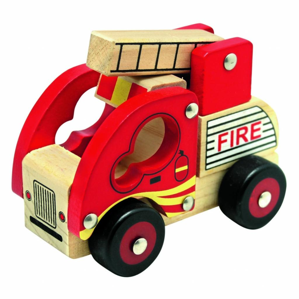 Produktové foto Bino Dřevěné auto Hasiči, červená