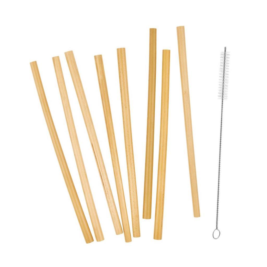 Produktové foto BAMBOO LOUNGE Bambusová brčka s kartáčkem na čištění set 8 ks