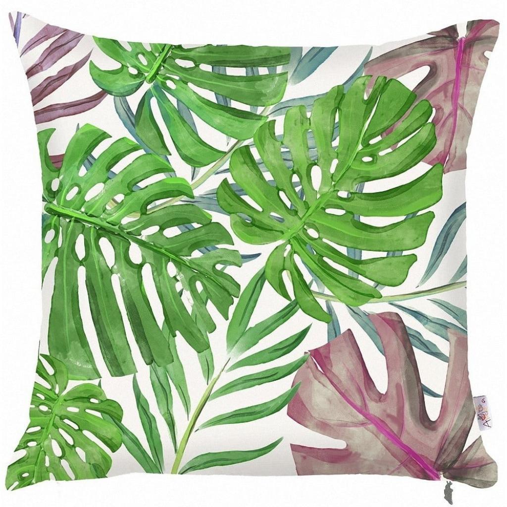 Produktové foto Zelený povlak na polštář Mike&Co.NEWYORK Monstera Heaven, 43 x 43 cm