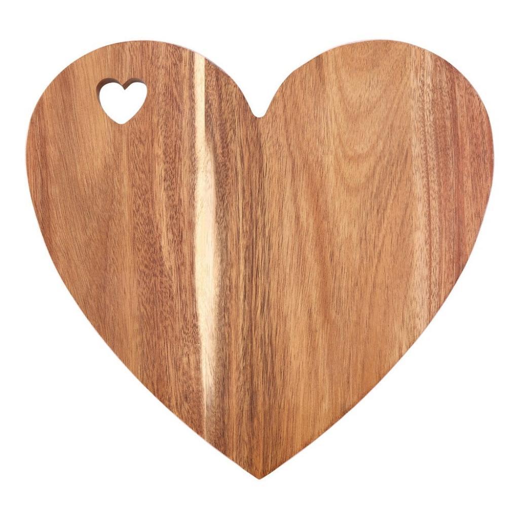 Produktové foto Prkénko ve tvaru srdce z akáciového dřeva s růžovým okrajem Premier Housewares, 30 x 28 cm
