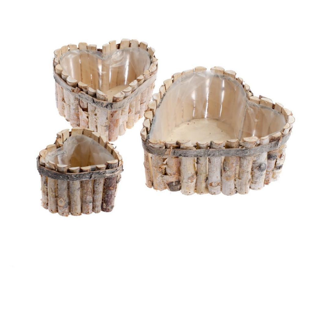 Produktové foto Sada 3 dřevěných košů ve tvaru srdce Dakls Valley