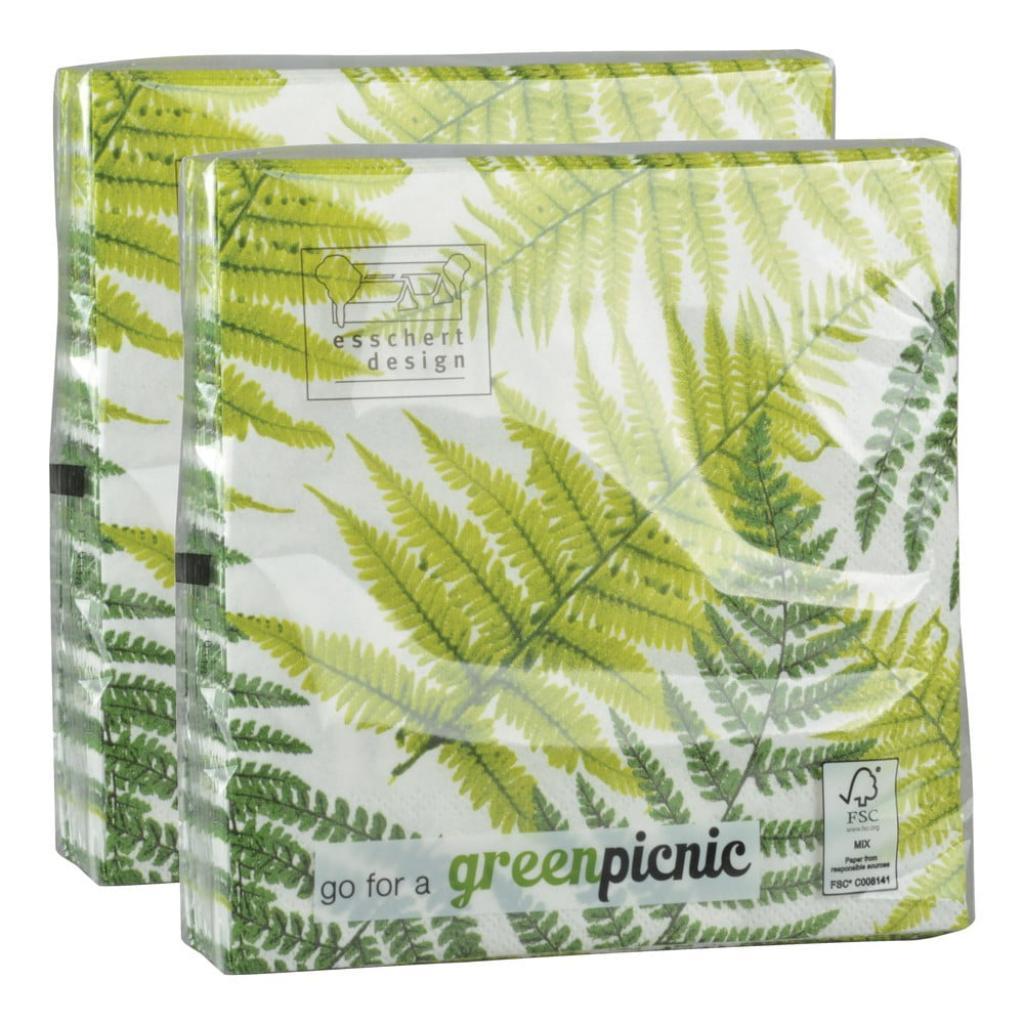 Produktové foto 2 sady 20 ubrousků Esschert Design Leaf