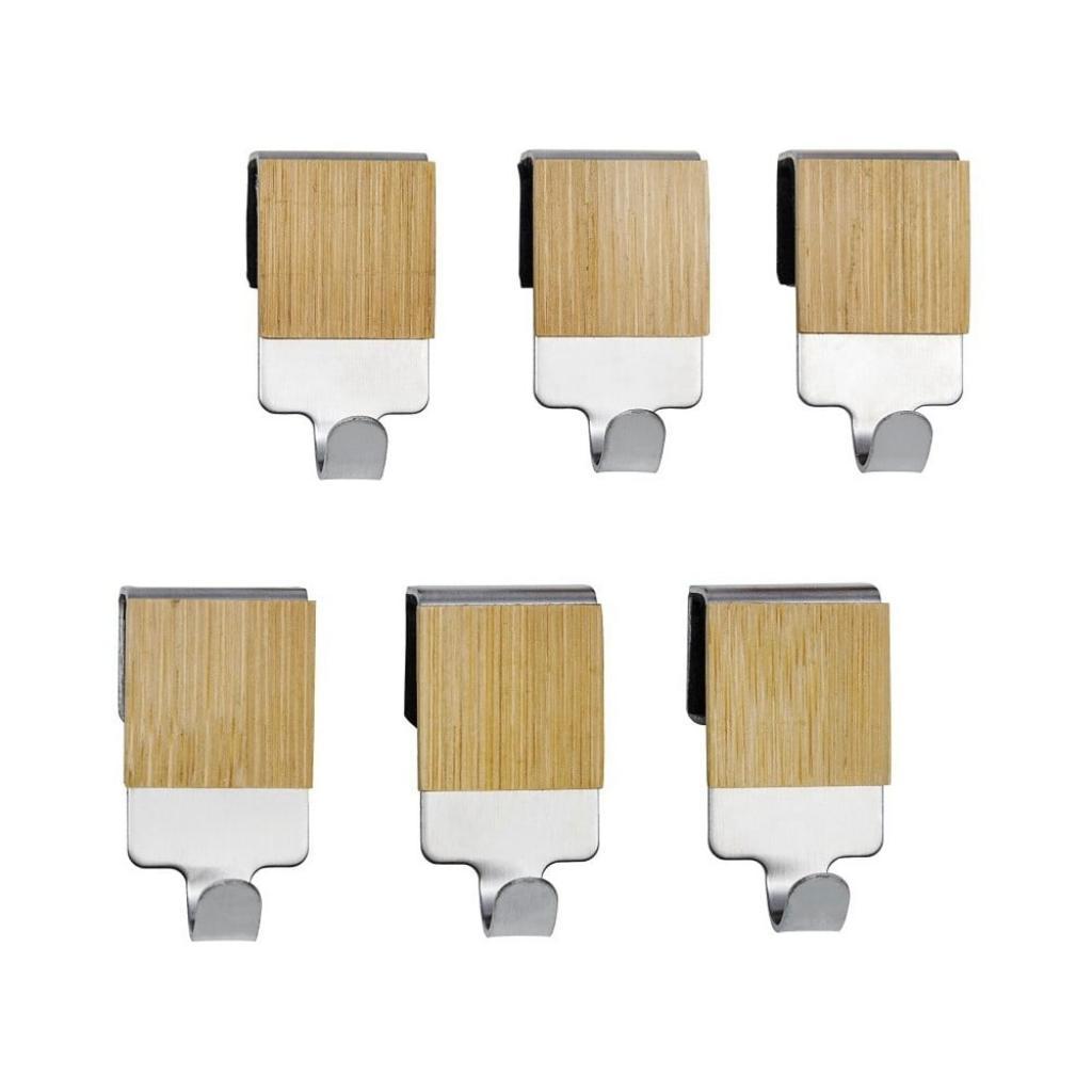 Produktové foto Sada 6 bambusových závěsných háčků Wenko Bamboo Premium