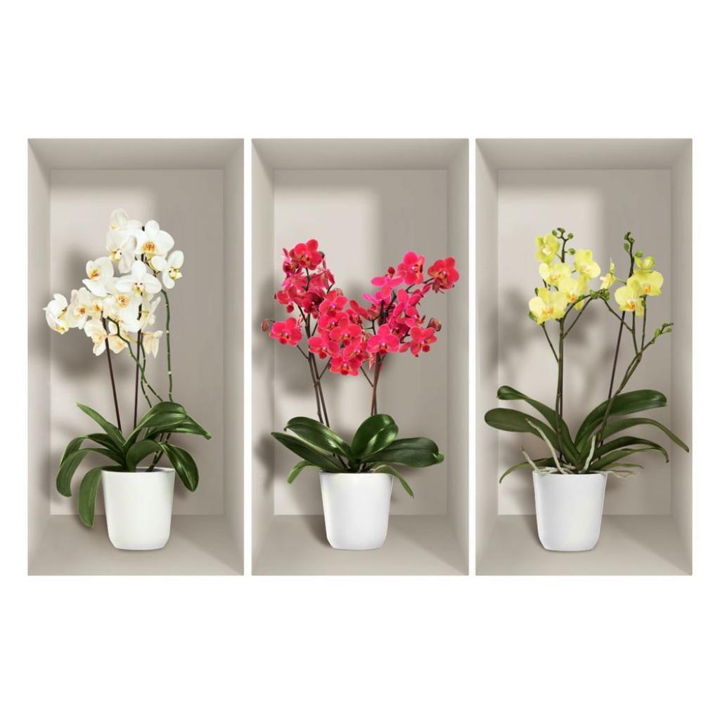Produktové foto Sada 3 3D samolepek na zeď Ambiance Orchids