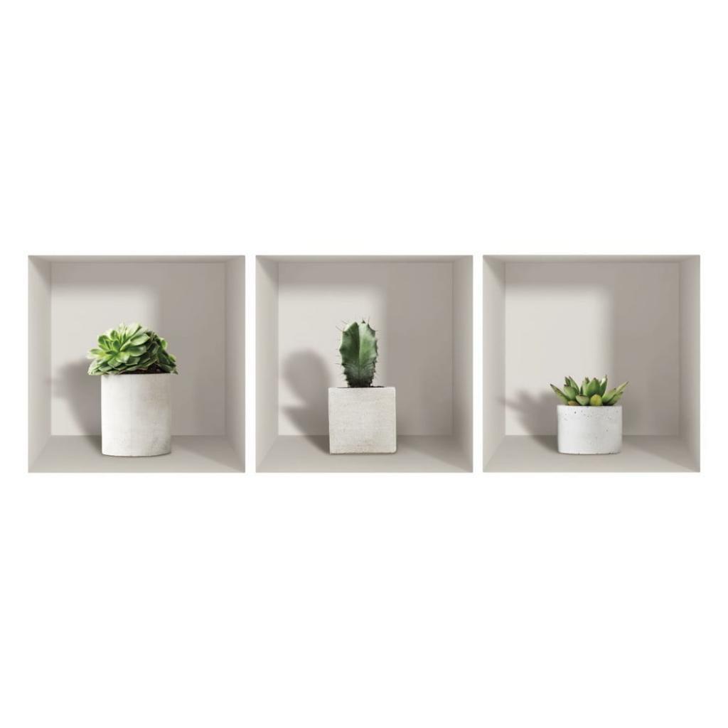 Produktové foto Sada 3 3D samolepek na zeď Ambiance Cactus