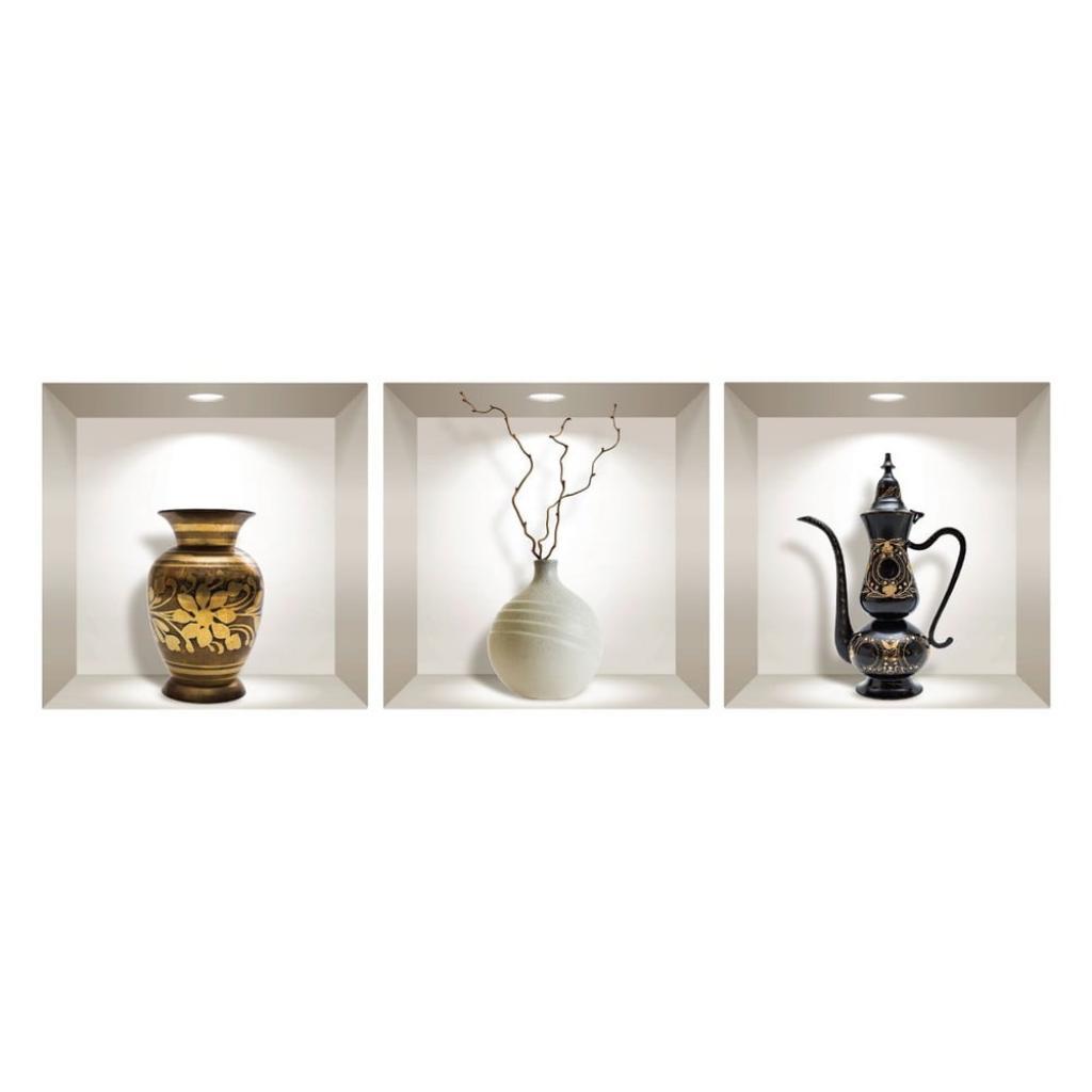 Produktové foto Sada 3 3D samolepek na zeď Ambiance Decorative Objects