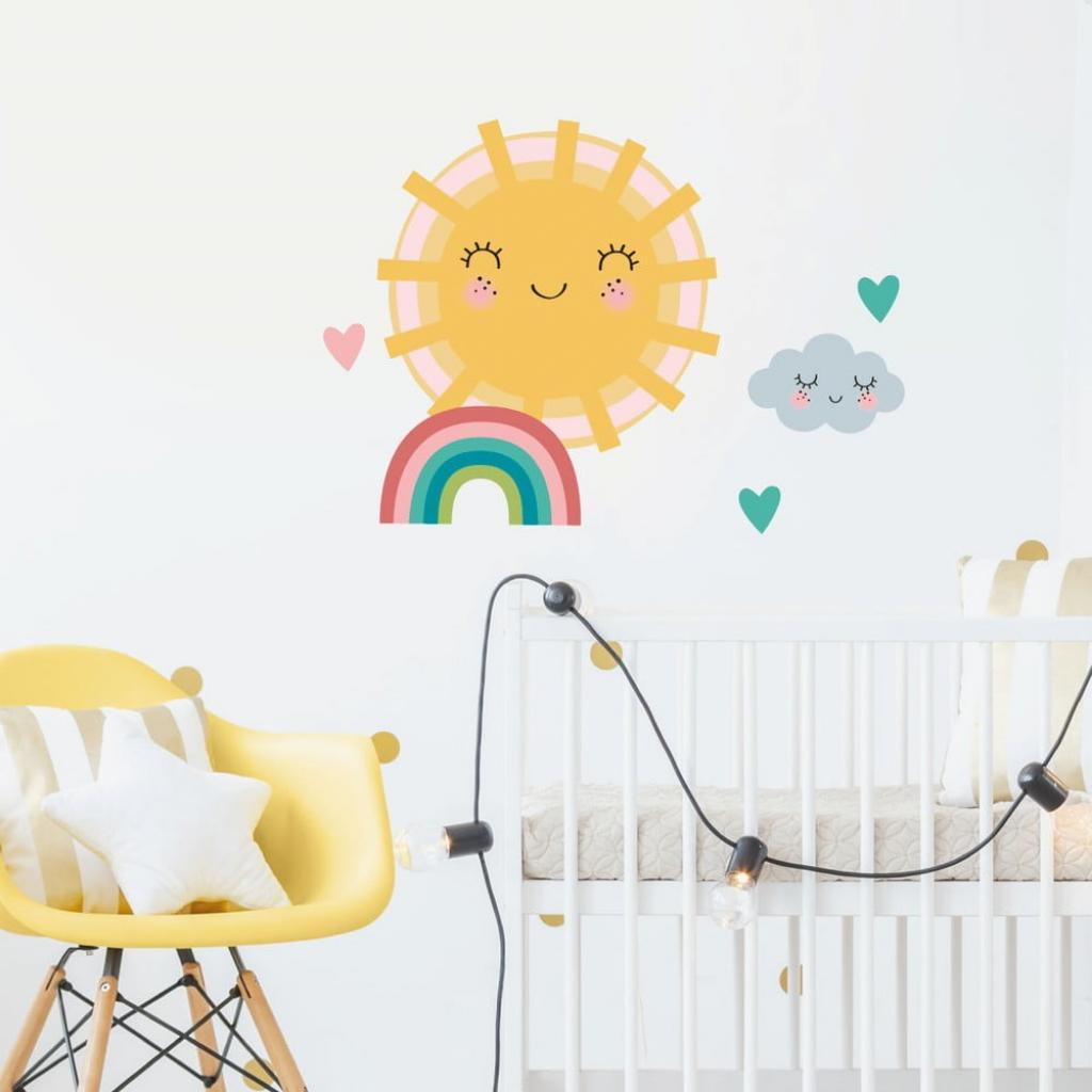 Produktové foto Sada samolepek na zeď Ambiance Sun, Clound and Rainbow