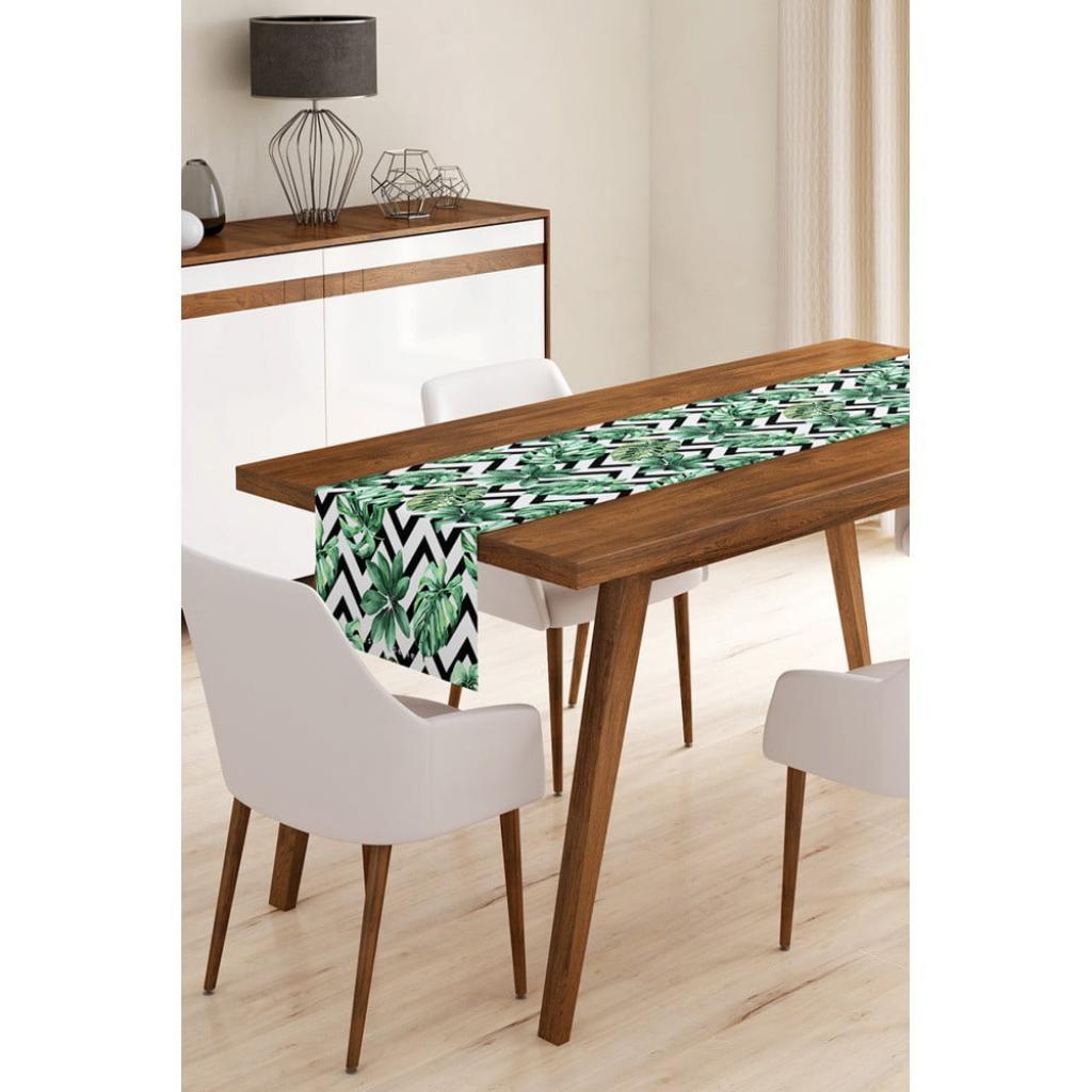 Produktové foto Běhoun na stůl z mikrovlákna Minimalist Cushion Covers Jungle Leaves Stripes, 45x145cm