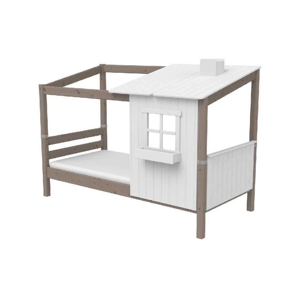 Produktové foto Hnědo-bílá domečková postel z borovicového dřeva Flexa Classic Tree House, 90x200cm