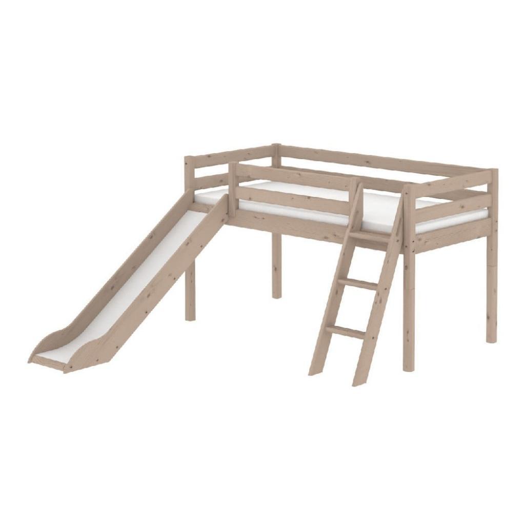 Produktové foto Hnědá středně vysoká dětská postel z borovicového dřeva se skluzavkou a žebříkem Flexa Classic, 90x200cm