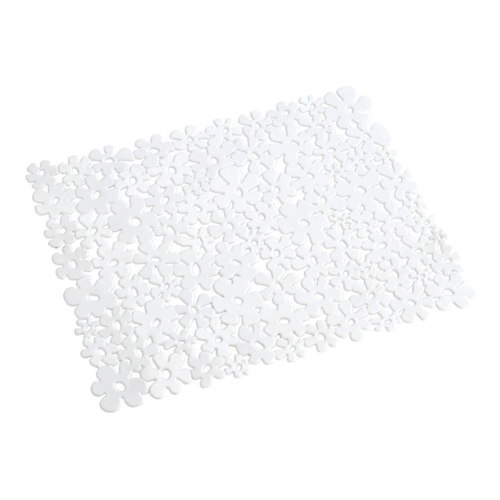 Produktové foto Bílá podložka do dřezu Wenko Sink Mat Flower, 31x26cm