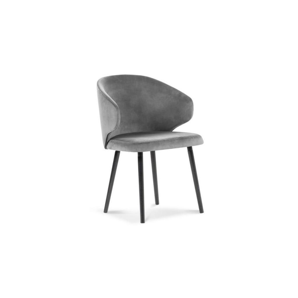 Produktové foto Šedá jídelní židle se sametovým potahem Windsor & Co Sofas Nemesis