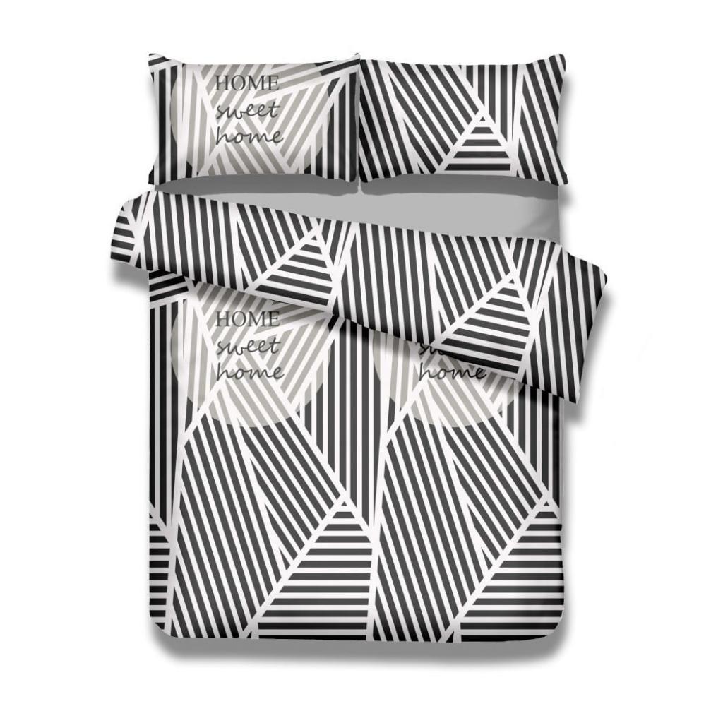 Produktové foto Sada bavlněného povlaku na peřinu a 2 povlaků na polštáře AmeliaHome Averi Sweet Home Light, 220 x 240 cm + 63 x 63 cm