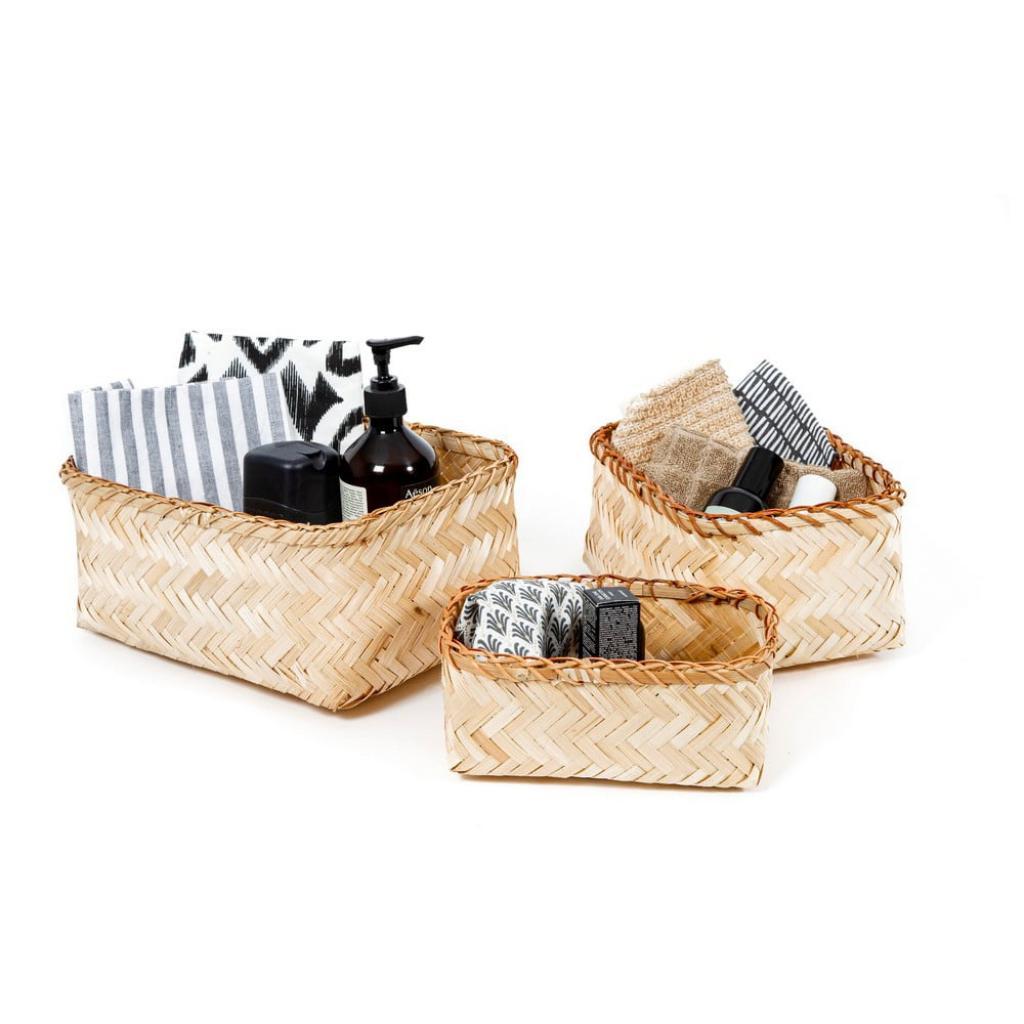 Produktové foto Sada 3 úložných bambusových košíků Compactor Natural Bamboo