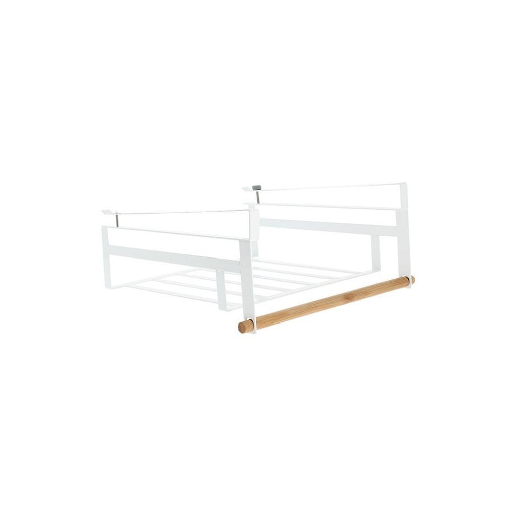 Produktové foto Bílá zavěsitelná polička do šatní skříně na oblečení Compactor Under Shelf Basket Rail