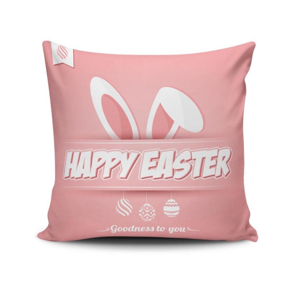 Produktové foto Růžový povlak na polštář Happy Easter, 45 x 45 cm