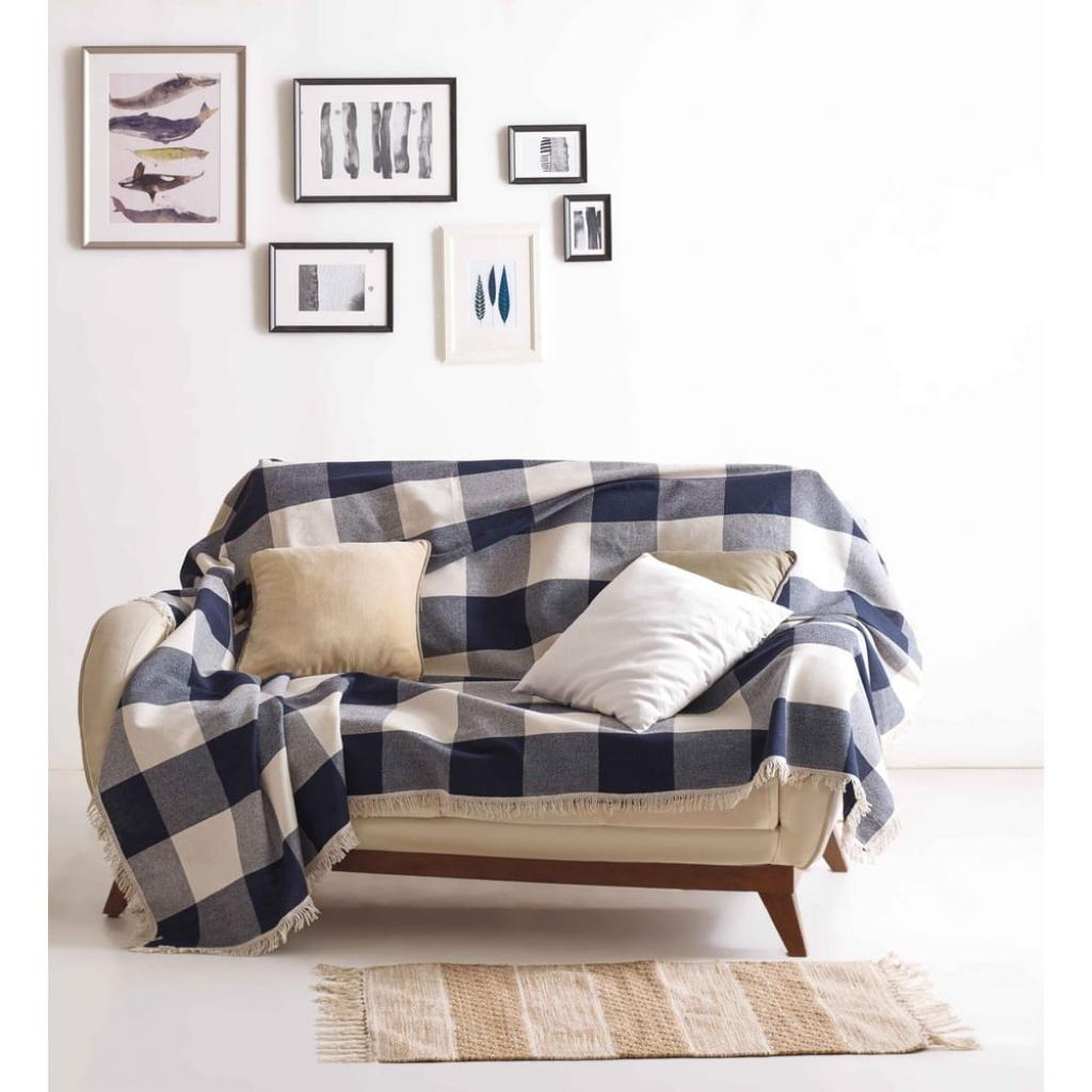 Produktové foto Bavlněná deka EnLora Home Dama Dark Blue, 160x220cm
