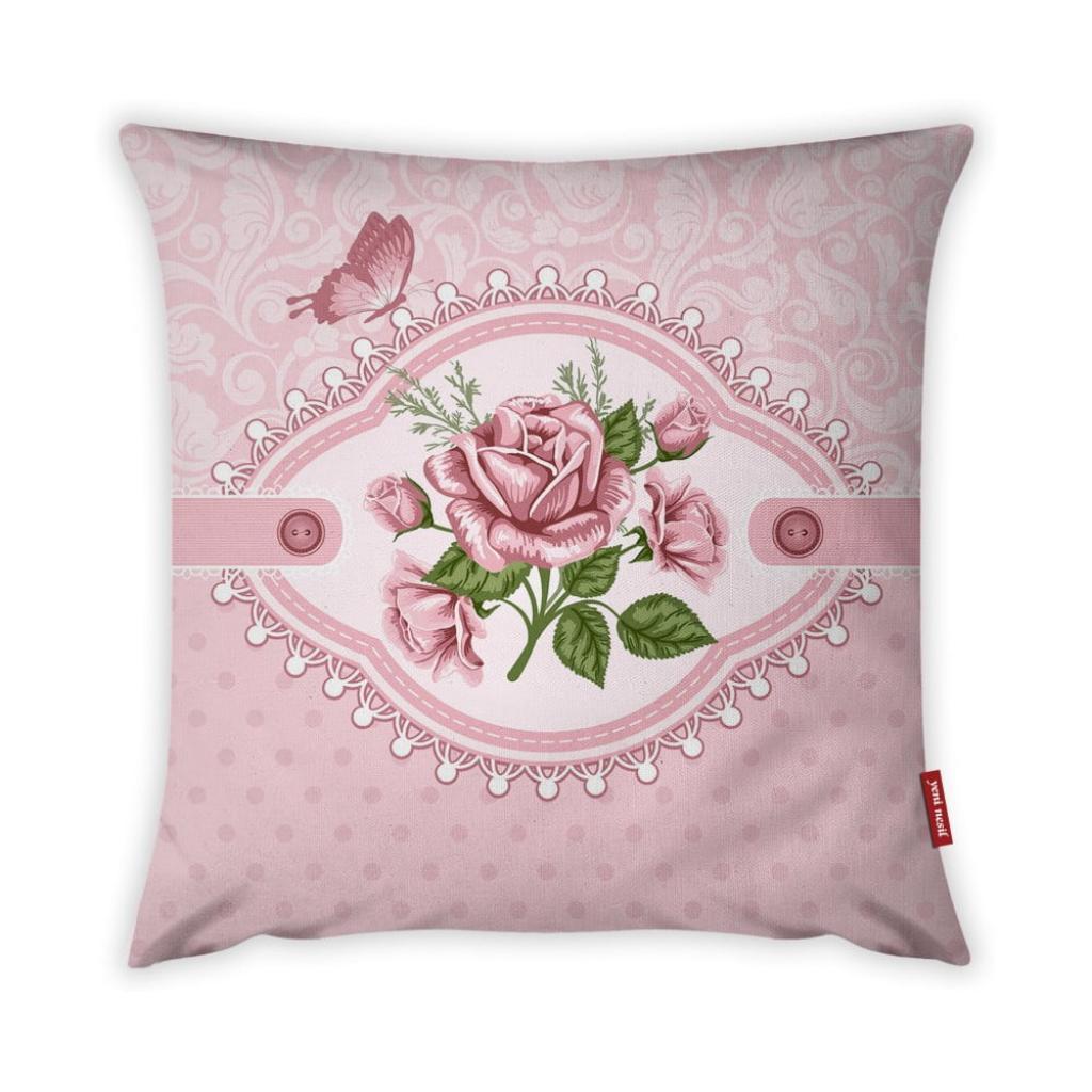 Produktové foto Povlak na polštář Vitaus Rustic Vintage Rosa Uno, 43 x 43 cm