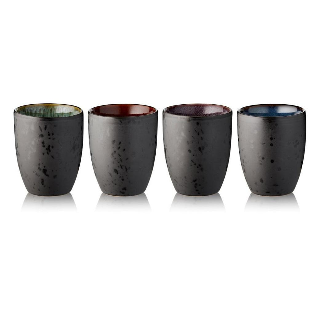 Produktové foto Sada 4 černých kameninových termohrnků Bitz Basics Black, 270 ml