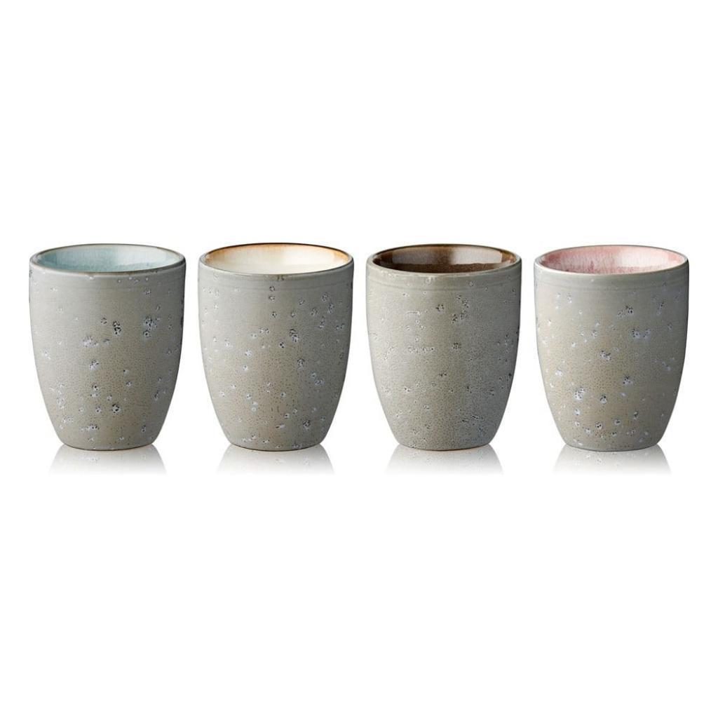 Produktové foto Sada 4 šedobéžových kameninových termohrnků Bitz Basics Grey Cream, 270 ml