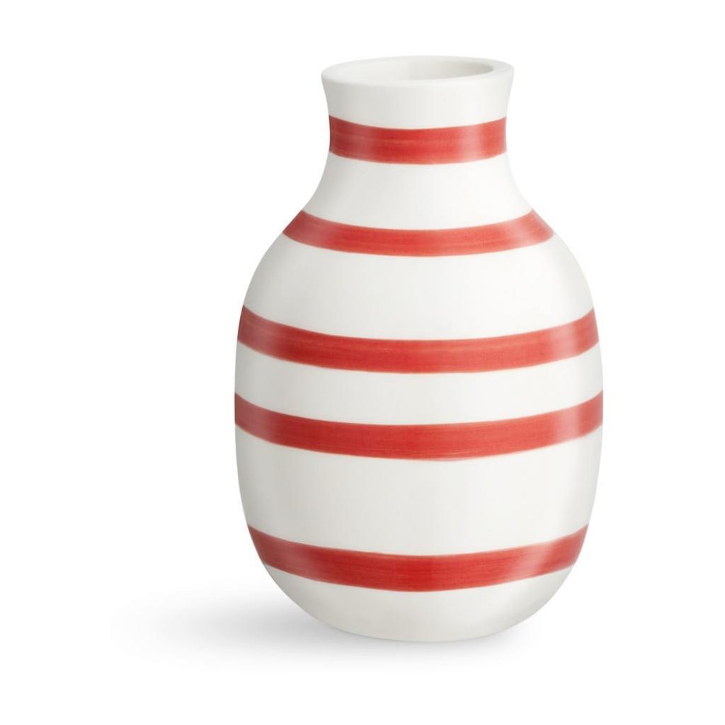 Produktové foto Bílo-červená pruhovaná keramická váza Kähler Design Omaggio, výška12,5cm