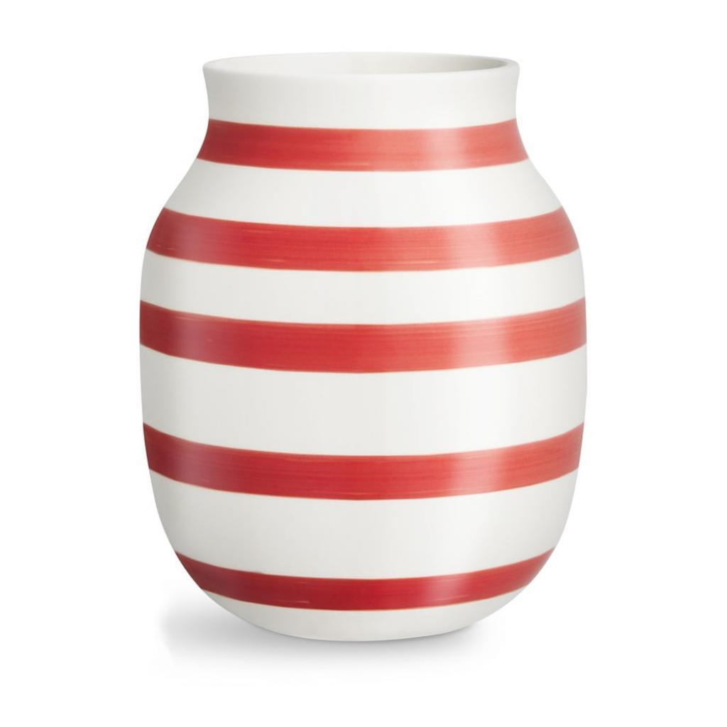 Produktové foto Bílo-červená pruhovaná keramická váza Kähler Design Omaggio, výška20,5cm
