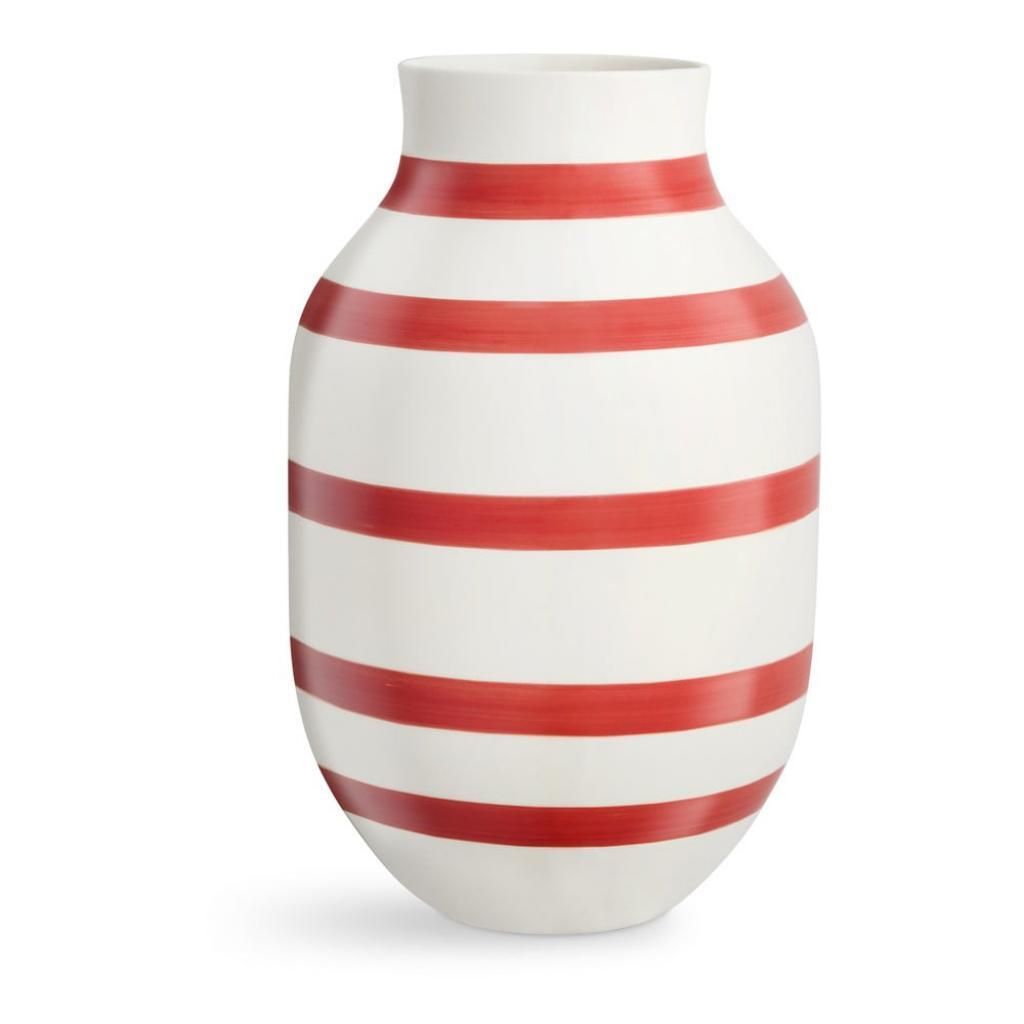 Produktové foto Bílo-červená pruhovaná keramická váza Kähler Design Omaggio, výška31cm