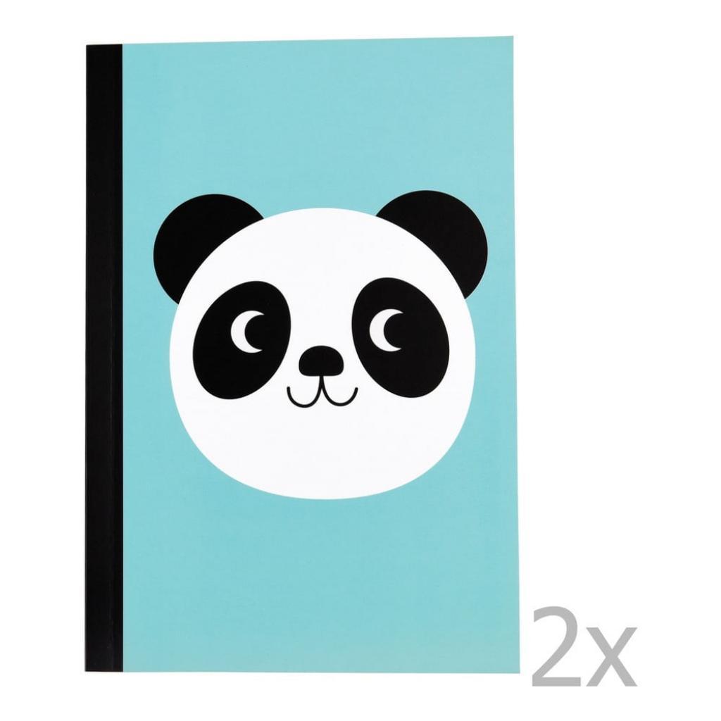Produktové foto Sada 2 linkovaných sešitů s potiskem pandy Rex London Miko The Panda