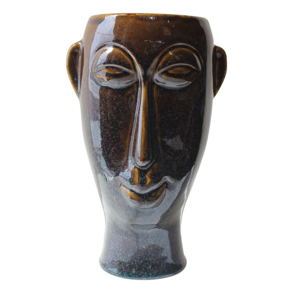 Produktové foto Tmavě hnědá porcelánová váza PT LIVING Mask, výška 27,2 cm