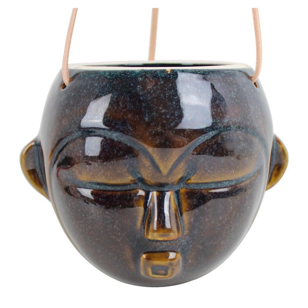 Produktové foto Tmavě hnědý závěsný květináč PT LIVING Mask, výška 15,2 cm