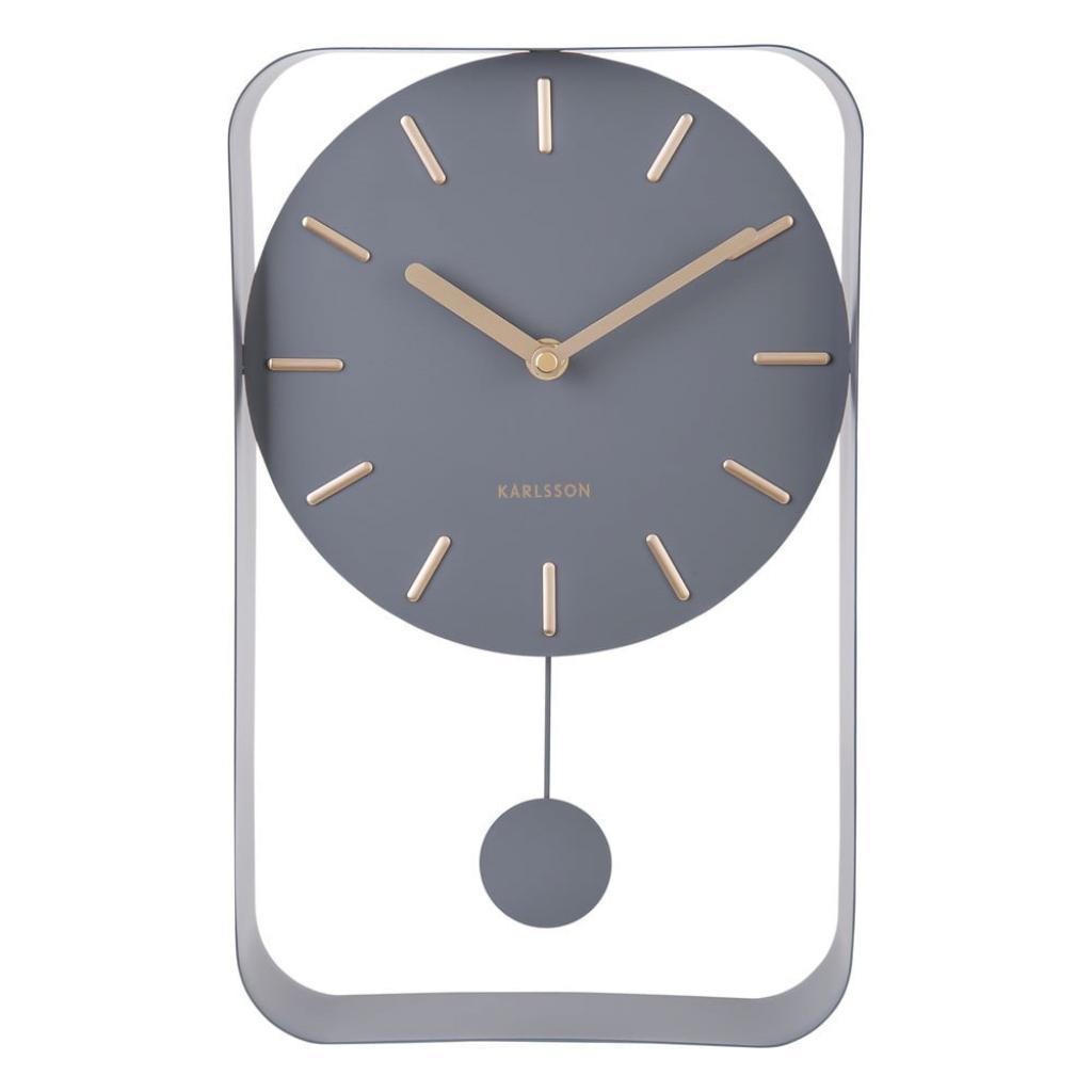 Produktové foto Šedé nástěnné hodiny s kyvadlem Karlsson Charm, výška 32,5 cm