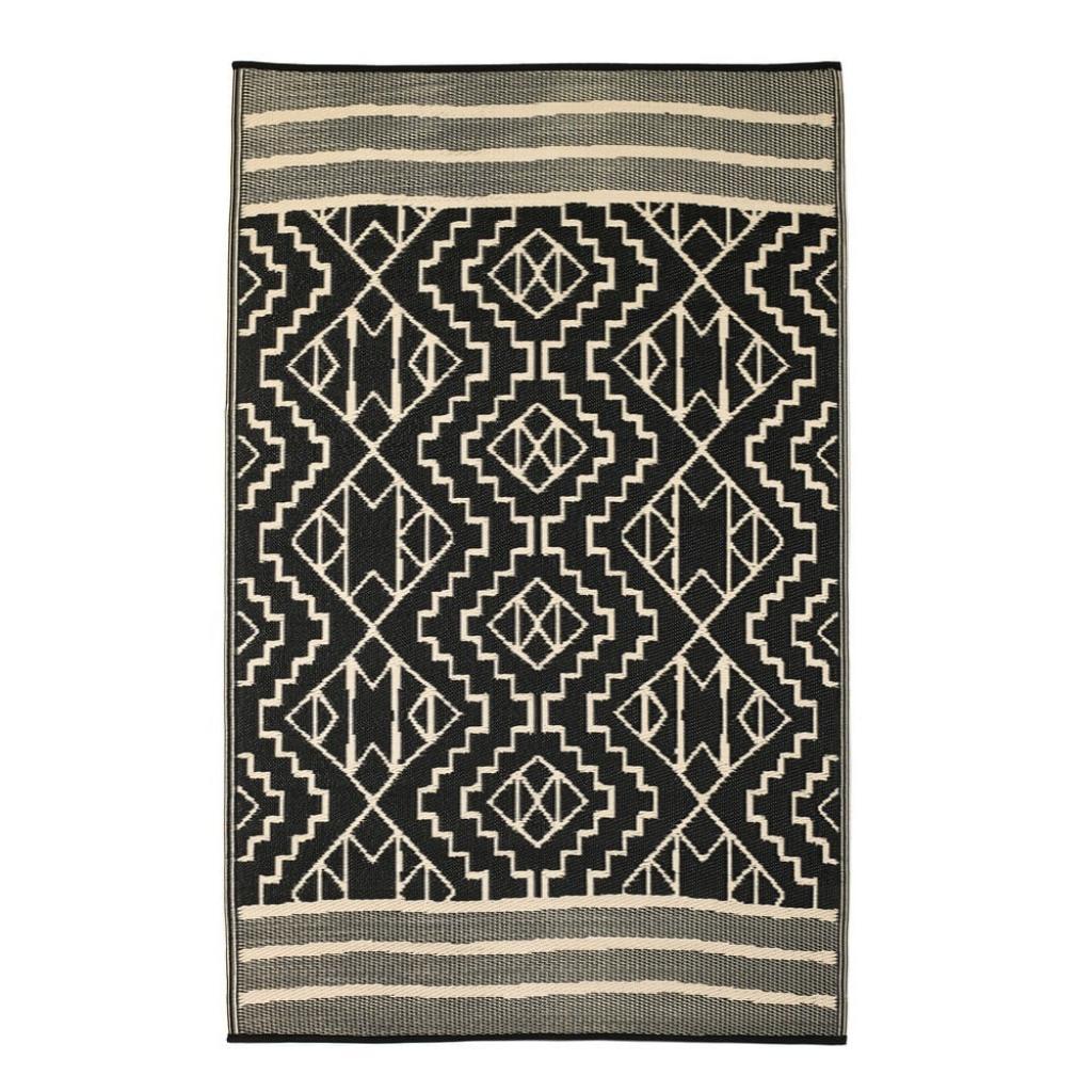 Produktové foto Černý oboustranný venkovní koberec z recyklovaného plastu Fab Hab Kilimanjaro Black, 90 x 150 cm