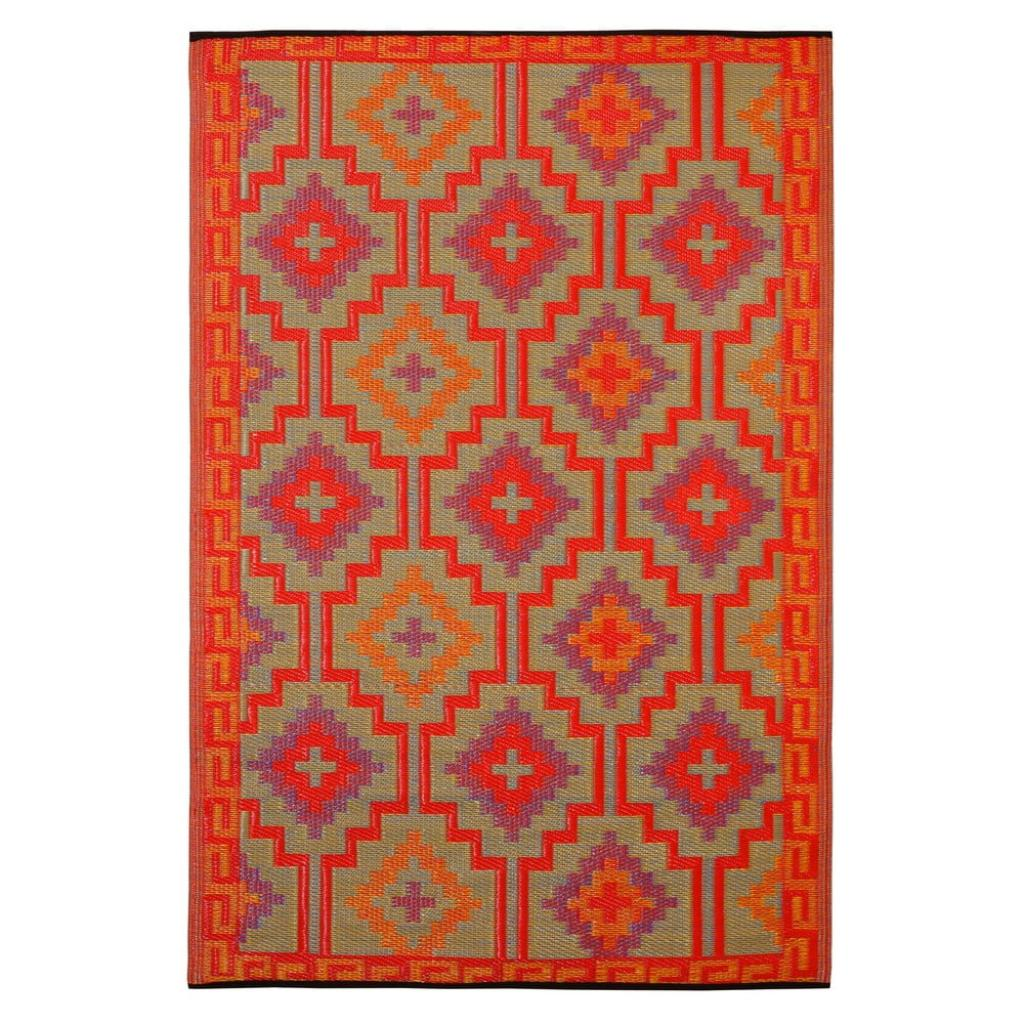 Produktové foto Oranžovo-fialový oboustranný venkovní koberec z recyklovaného plastu Fab Hab Lhasa Orange & Violet, 90 x 150 cm