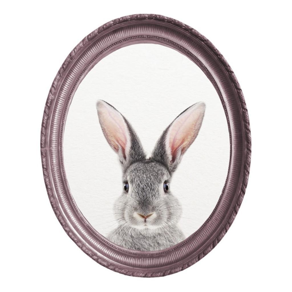 Produktové foto Oválný nástěnný obraz v rámu Really Nice Things Rabbit, 40 x 50 cm